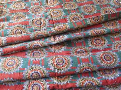 "French Antique c1820 Block Print Quilt Cotton Fabric~Christmas Colors~74"" X 32"""