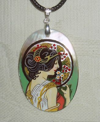 """Russian Mother of pearl Pendant """" Primrose """" by Mucha Art Nouveau Hand Painted"""