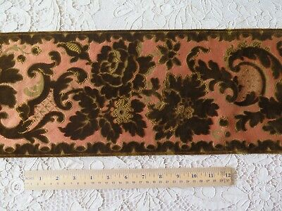 "Antique French 1870 Sienna Silk & Olive Brown Cut Velvet Floral Border~131""X7"""