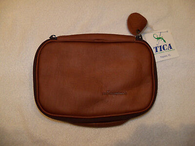 Tica Colombian Tan Leather Toiletry Travel Bag W/SBC Logo & Tags