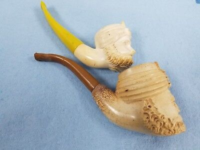 2 Vintage Antique Meerschaum Pipe Figural Bearded Man W Turban Hand Made Carved