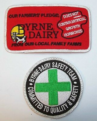 2 Vintage Byrne Dairy Farm Milk Ice Cream Cow Uniform Jacket Patch & Safety Team