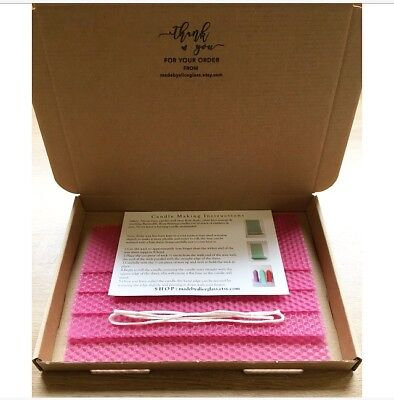 Beeswax Candle Making Kit, Pink Beeswax Sheets, Wick, Instructions