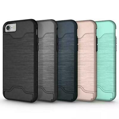IPhone X & Samsung S9 Case with Card Holder Slot Kickstand Slim Cover NEW