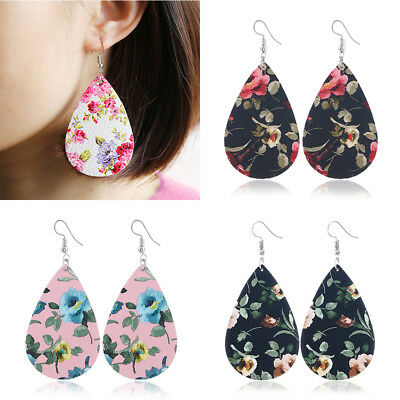 Womens Retro Pu Leather Style Dangle Earring Drop Flower Floral Chinese Jewelry