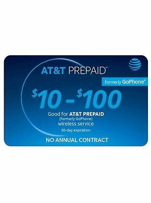 AT&T Prepaid Refill any amount $10-$100 (instant load directly to phone)