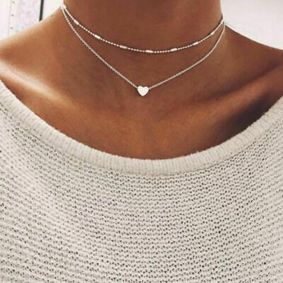 Vintage Women Double Layer Bohemian Alloy Heart-Shaped Choker Necklaces