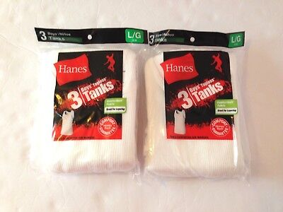 Hanes Boys TAGLESS® Tanks ComfortSoft® Cotton Under Shirt Two 3-Pack Sz L 14-16