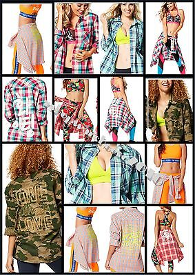 ZUMBA FLANNEL Crazy Happy~ONE LOVE Button Down Camo Gold~Instructor~WORLD TOUR