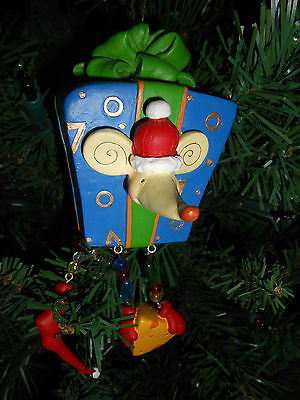 Whimsical  Mouse with Present Large Resin Christmas Ornament New by Sterling