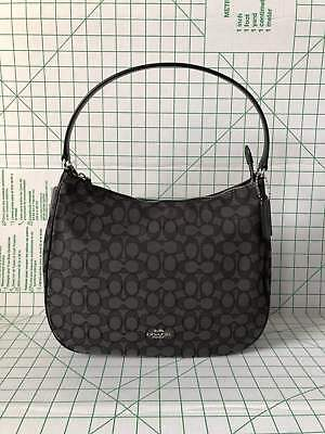 Coach 29959 Outline Zip Shoulder bag Signature Jacquard handbag Black Smoke  BLK 404f80f674e2b