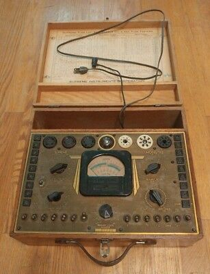 Vtg Supreme Instruments Corp. Tube Tester Model 502 Wood Case w/ Manual Untested