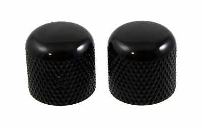 Pair of Black Dome Knobs for Electric Guitar and Bass