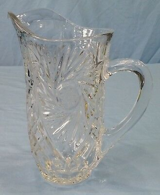 Lead Crystal Glass Pitcher Pinwheel with Brunswick HobStar