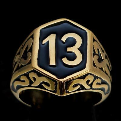 Bronze Mens Biker Ring Celtic Ornament Lucky Number 13 Black Enamel Any Size