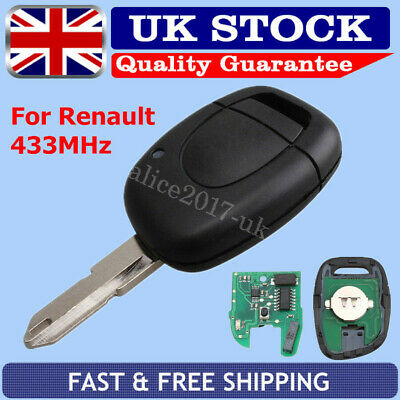1 Button 433MHz Remote Key Fob PCF7946 Chip For Renault Clio & Kangoo 2001-2006