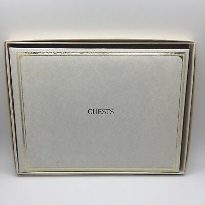 VTG CR Gibson Gold Stamped Guest Book White 9-3/4-Inch by 7 Inch New In Box