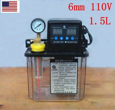 110V 1.5L Dual Digital Display Automatic Lubrication Pump Oiler NC Pump 6mm USA