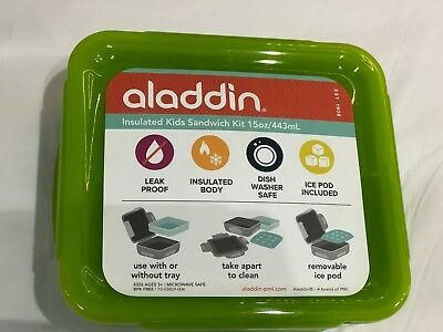 Aladdin 443ml Green Insulated Kids Sandwich Kit