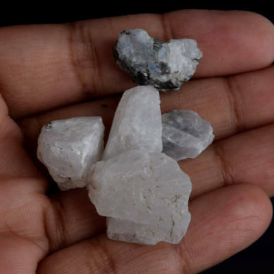 79.50 Carat Lot of Natural White Rainbow Calcite Crystal Uncut Rough Gems V-5669