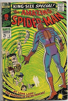 Amazing Spider-Man King-Size Sp. #5 1968 Silver Age Comic Book (Peter's Parents)