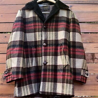 Vintage Mens  Pendleton Brown Plaid Red Tan Wool Hunting Jacket Coat 1930s-1950s