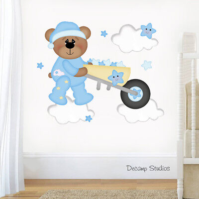 Teddy Bear Nursery Decal Baby Boy Wall Art Cloud Star Stickers Kids Mural Room