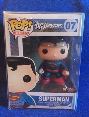 FUNKO POP Vinyl Figure • Superman PREVIEWS Exclusive w/ Protector PX