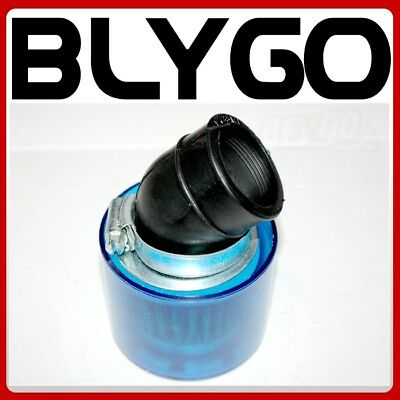 34mm BLUE Water Proof Angle Bent Air Filter Pod Cleaner PIT Quad Dirt Bike ATV