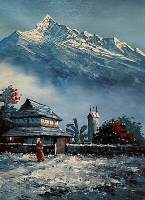 MOUNT FISHTAIL NEPAL HIMALAYAS ORIGINAL ACRYLICS PAINTING IN CANVAS 11 x 15""