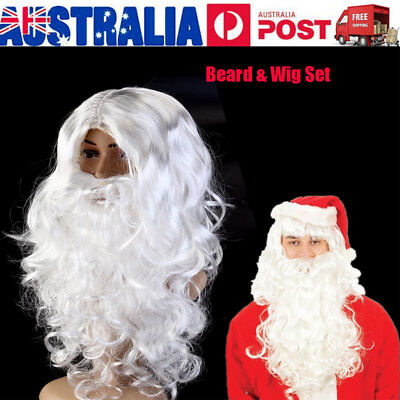 White Deluxe Santa Claus Beard & Wig Set Father Christmas Fancy Dress Accessory
