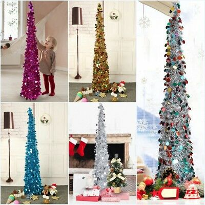 5ft Gold & Silver Tinsel Christmas Tree Xmas Collapsible Sequin Bling Home  Decor - 5FT GOLD & Silver Tinsel Christmas Tree Xmas Collapsible Sequin