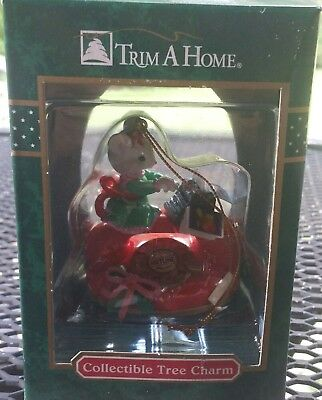 Vintage Trim a Home Mouse Typing on Telephone Tree Charm Ornament KMart NIP