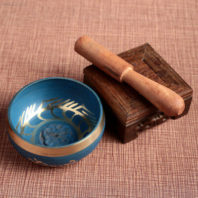 6A6C Singing Bowl Durable Relax Yoga Gift Soothing Sound Copper Sky Blue