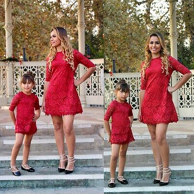 Family Mother Daughter Matching Mommy Girls Dress Clothes Outfit Party Dresses
