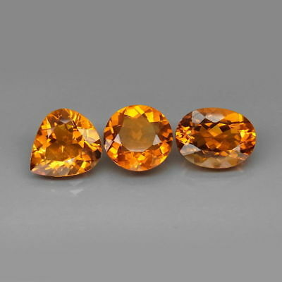 12.68 CTS 3 EXCELENTES CITRINOS NATURALES  - Natural HUGE Yellow Citrine Brazil