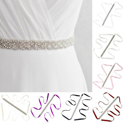 KF_ Bride Bridesmaid Wedding Dress Waistband Bling Rhinestone Sash Ribbon Belt