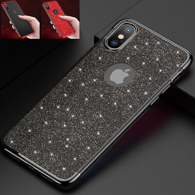 For iPhone Xs Max XR X 6 7 8 Plus Ultra Thin Soft Clear Bling Sparkle Case Cover