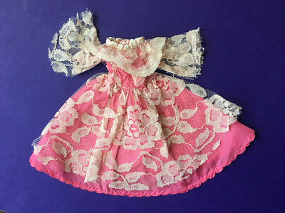 Vintage pink ball gown floral lace dress Sindy Barbie doll clothes SHIMMYSHIM