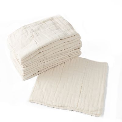 Prefold Cloth Diapers - 12 Pack - Unbleached Premium Cotton, Pre-Washed, Fits