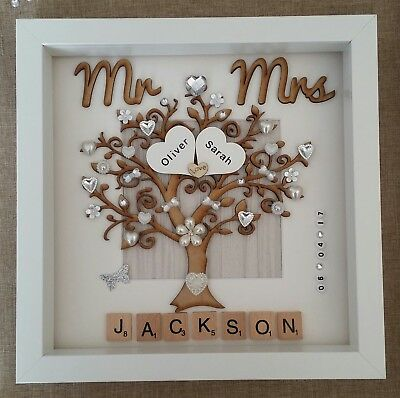 Handmade Personalised Wedding Day Mr Mrs Box Frame Keepsake Gift