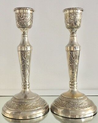 """Beautiful Vintage Pair Of Heavy Brass Silver Plated Candle Holders 12"""" Tall"""