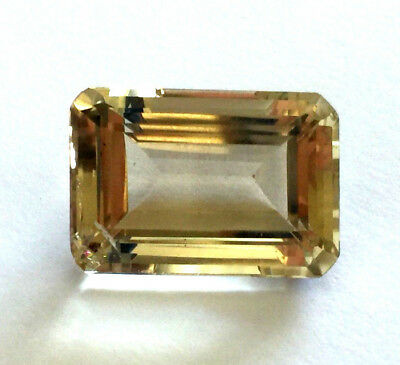 Large 29.89 Ct  Emerald Cut Loose Yellow Citrine Quartz Natural Gemstone