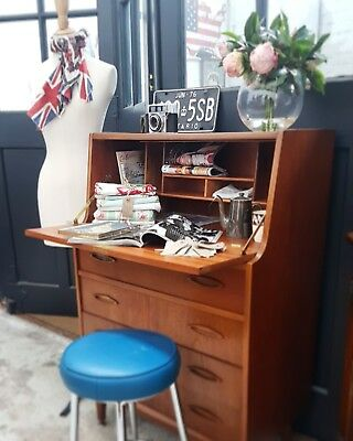 Teak Writing Bureau Desk  Mid Century Delivery Available Key G Plan Style