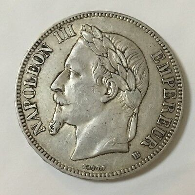 1868BB France 5 Franc Strasbourg, Silver Coin - Good Very Fine