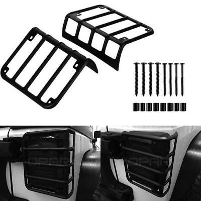 Matte Black Steel Metal Tail Light Guard Protector Cover For 07-18 Jeep Wrangler