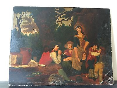 Antique Old Victorian Georgian Oil Painting On Board Of A Family Scene Signed