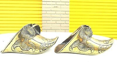 Brass horse stirrups Conquistador Style vintage Art deco  Ornamental pair shoes