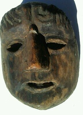 Guatemalan Folks Art Hand Carving Wood Mask vintage patron face dance  mask .