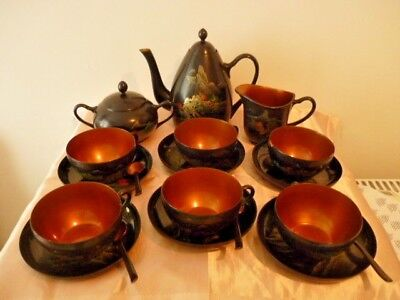 A Vintage Japanese Hand Painted Laquer Wear Tea Set + Other Pieces